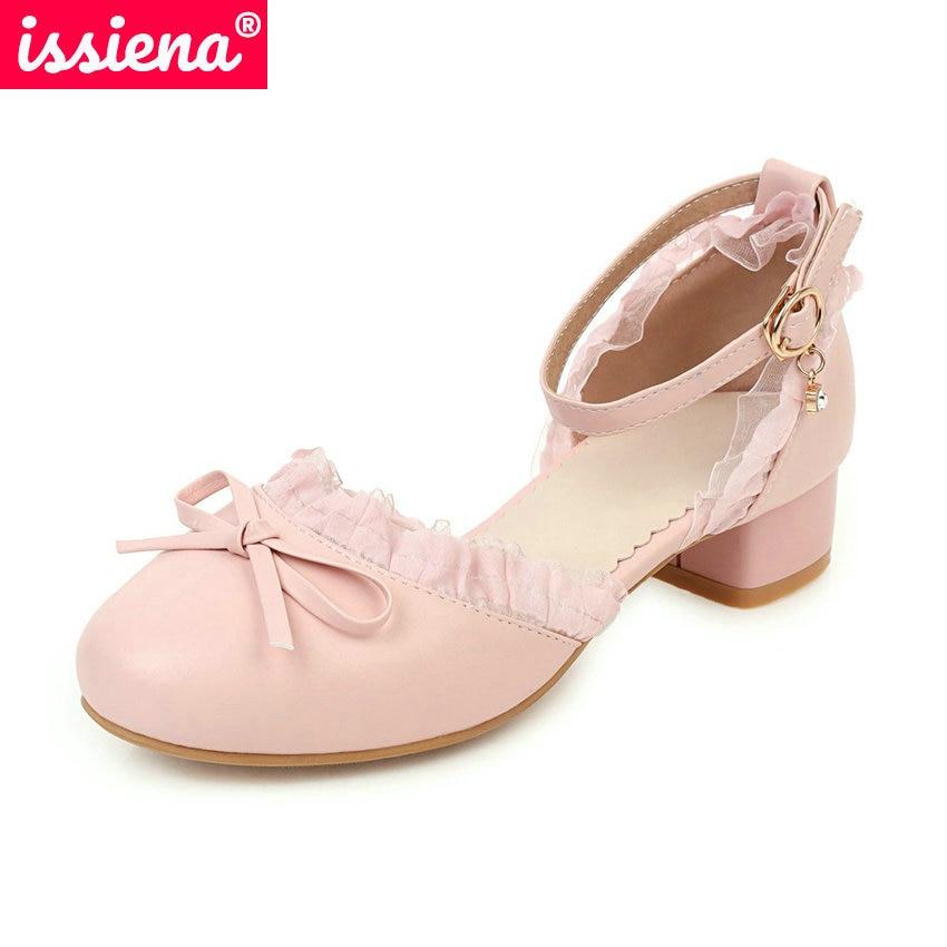 ISSIENA 2021 فراشة عقدة الدانتيل فتاة أحذية من الجلد جولة تو الحلو الاطفال أحذية الكريستال مشبك الفتيات عالية الكعب حجم 28-39