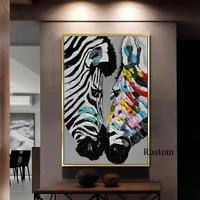 Affiches et imprimes de Graffiti a la mode moderne  en toile de zebre  pour la conception de la maison  pour salon  grande image sans cadre