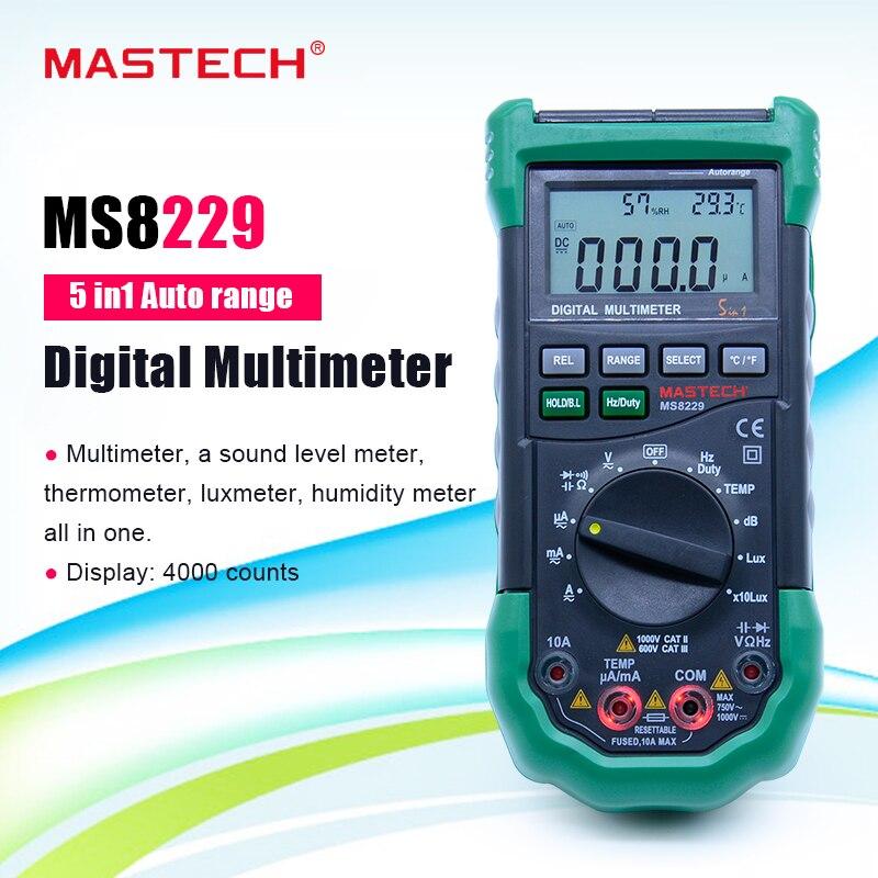 MASTECH-مقياس رقمي متعدد الوظائف MS8229 ، أوتوماتيكي ، 5 في 1 ، مع شاشة إضاءة خلفية NCV ، حامل بيانات ، جهاز اختبار احترافي