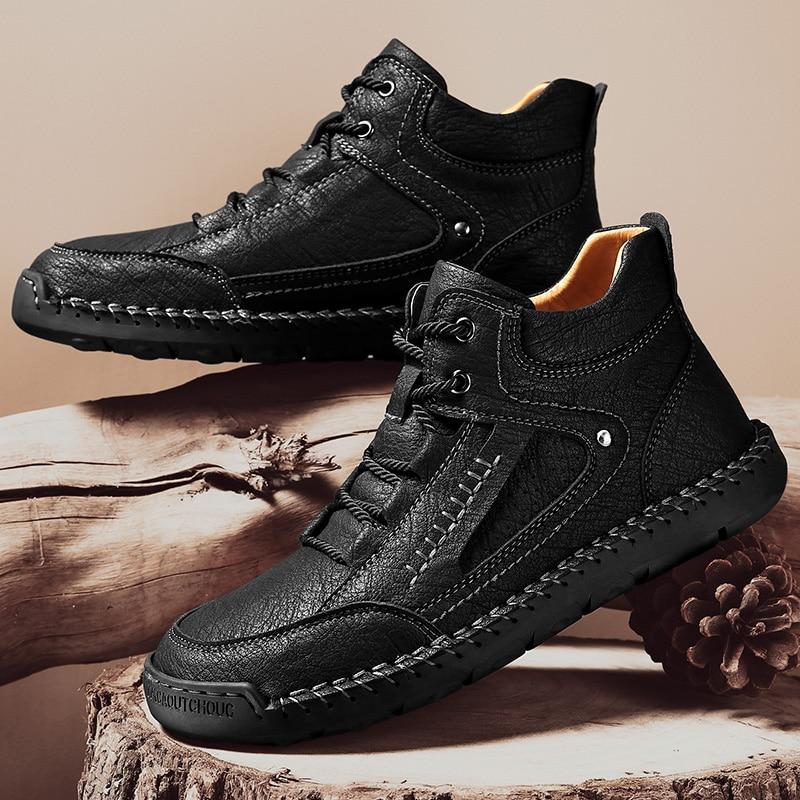 تسعة الساعة أنيق الرجال الأحذية الجلدية غير رسمية في الهواء الطلق الشارع عالية الكعب الذكور الأحذية خمر الشتاء الدافئة الأحذية حجم كبير 38-48