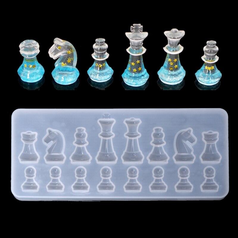 Forma de xadrez internacional molde de silicone diy argila resina cola epoxy molde pingente moldes que fazem a ferramenta