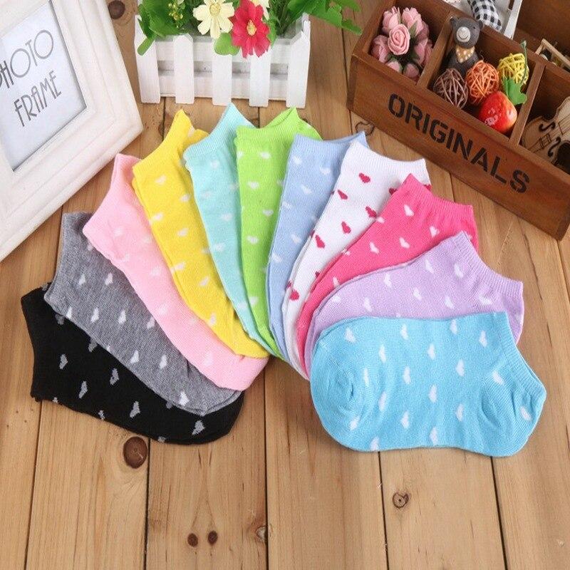 10 pièces/5 paire femmes coton chaussettes couleur bonbon coeur point solide bas coupe chaussettes pour femmes mince chaussettes pantoufles filles Meias Sokken Sox
