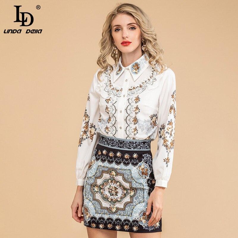 LD ليندا ديلا مصمم المدرج الخريف أزياء المرأة خمر الديكور طويلة الأكمام قمم و طباعة التنانير 2 اثنين من قطعة مجموعات الدعاوى