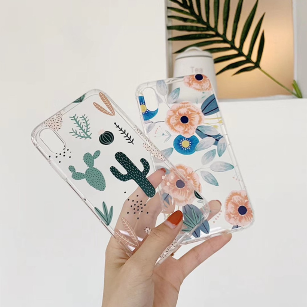 For iPhone 11Pro 11 pro Max XS Max XR Case Simple Style Cartoon Plant Cover For iPhone 7 8 6s 6 Plus Soft TPU Case enlarge