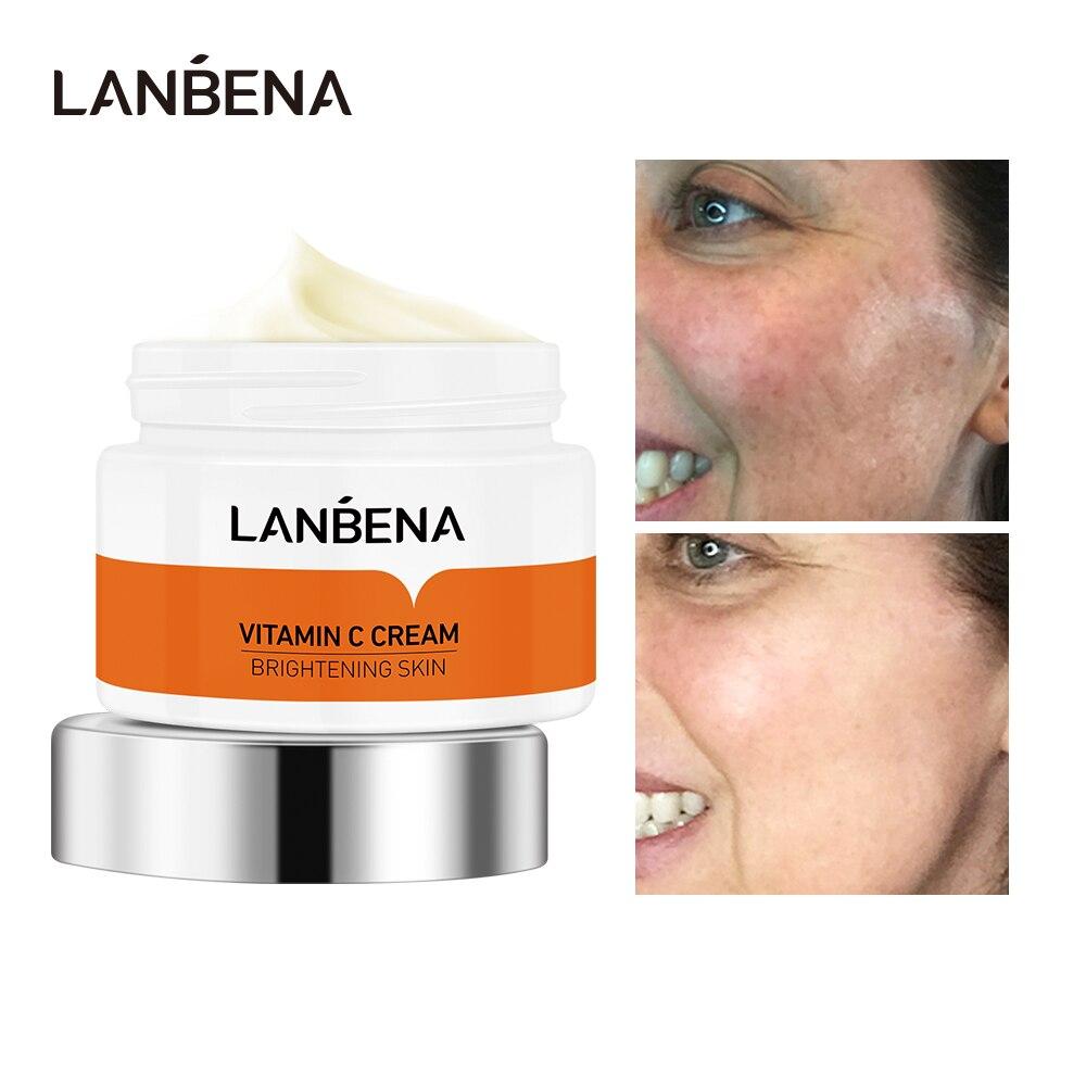 العناية بالوجه LANBENA فيتامين C تبييض تغذي سطع إزالة النمش الجلد مكافحة الشيخوخة منعش لا دهني 50g مستحضرات التجميل الكورية