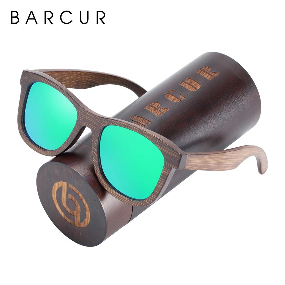 BARCUR gafas de sol de madera Natural polarizadas hombres hechos a mano bambú lentes de sol para dama con paquete Original