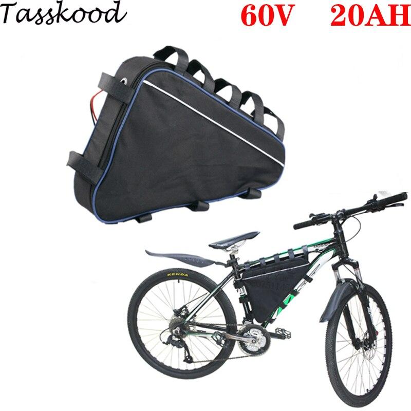 Batería de bicicleta eléctrica, 60v, 2000w, 1800w, 60v, estilo triangular, 60v, 20Ah