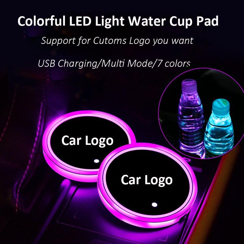 2 uds. LED coche logotipo de la almohadilla de la taza de agua luces para BMW Toyota Lexus Chevrolet7 colores atmósfera luz LED tapetes botellas lámparas cargador USB
