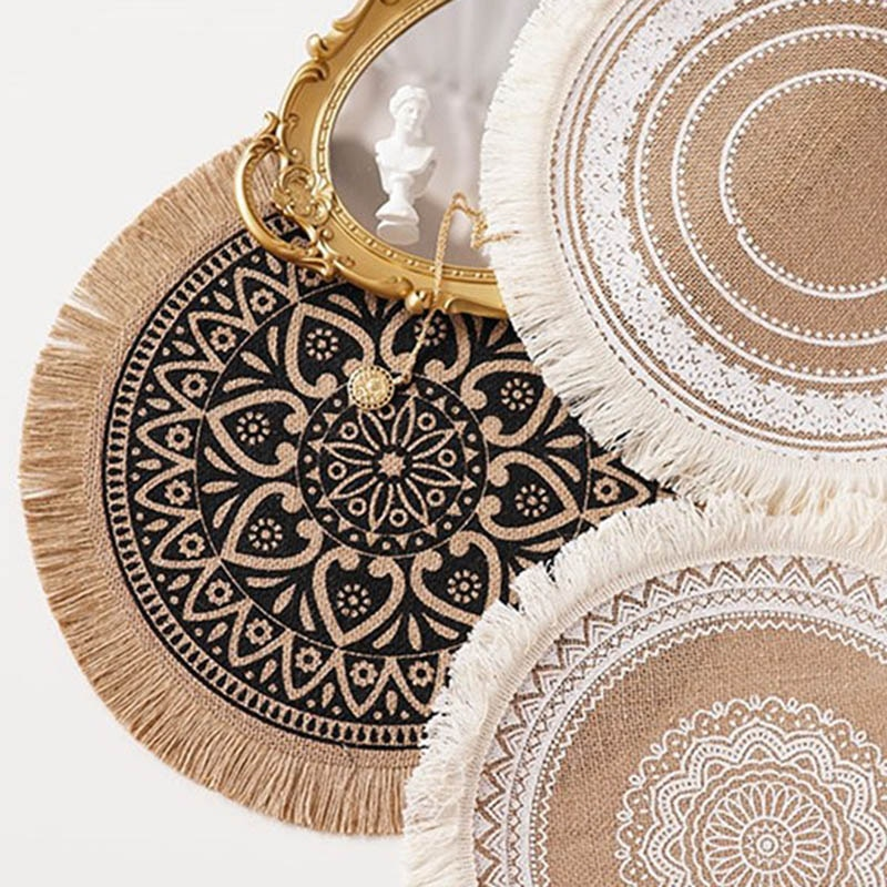 Heat Insulation Dining Table Mat  Round Delicate Embroidery Dessert Pan Placemat Non-slip Coffee Cup Mats