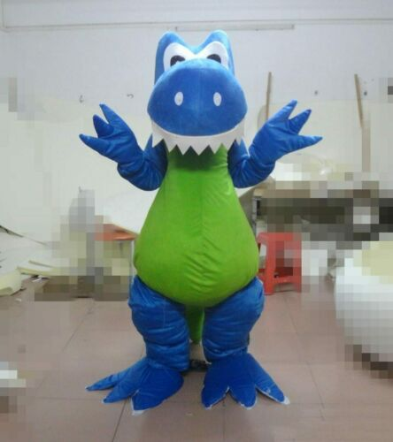 Halloween Advertising Blue Dinosaur Mascot Costume Suits Adult Party Cartoon Mascot Costume