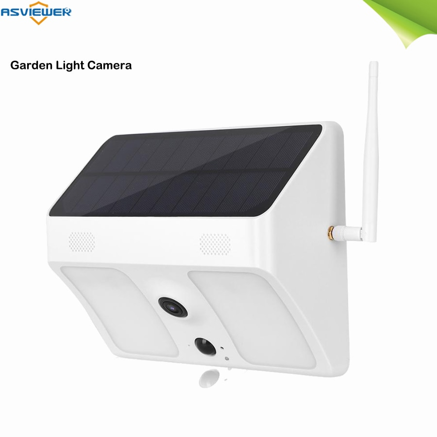 outdoor solar panel powered IP PIR wi-fi Garden Light security camera Wide Angle view dual way audio coloful night vision