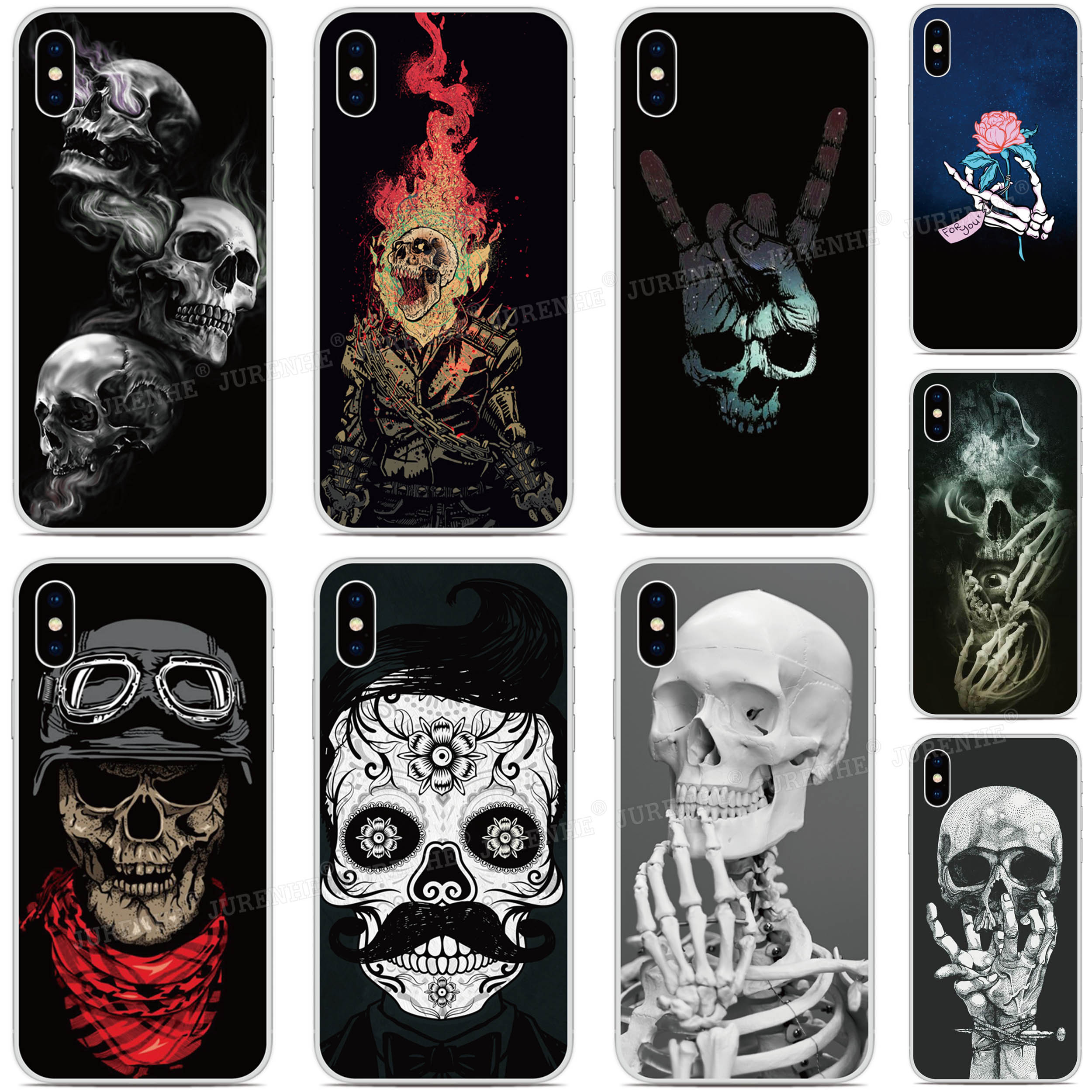 Esqueleto crânio caso de telefone para blackberry keyone chave 2 priv movimento passaporte q30 z10 q10 dtek50 dtek60 dtek70 tpu capa macia