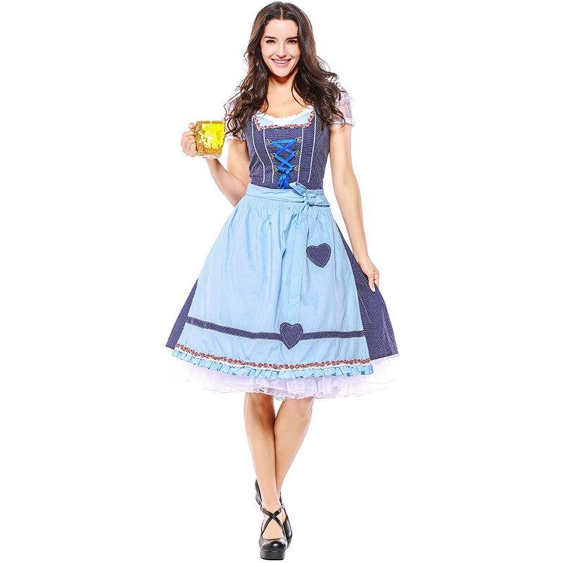 Umorden القطن Oktoberfest زي المرأة الألمانية البافارية مطعم نادي بار البيرة خادمة النادل تأثيري الأزرق منقوشة فستان فانتازيا