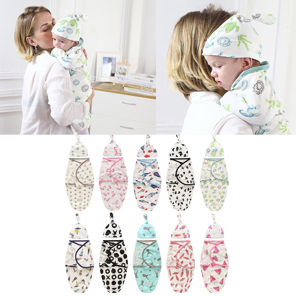 Детское Пеленальное Одеяло + шапочка для новорожденных Cocoon, хлопковые пеленки, сумка, Детский конверт, спальный мешок, постельные принадлежности
