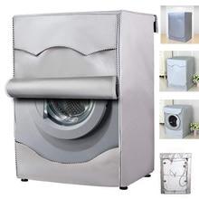 Cubierta de lavadora de fibra de poliéster, cubierta impermeable de carga frontal, protector solar, revestimiento de plata, a prueba de polvo