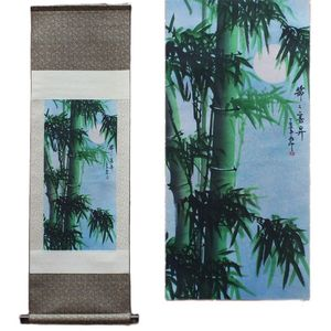 Green Bamboo Pattern Silk Painting Decoration Scroll Painting Chinese Characteristics And The New Special