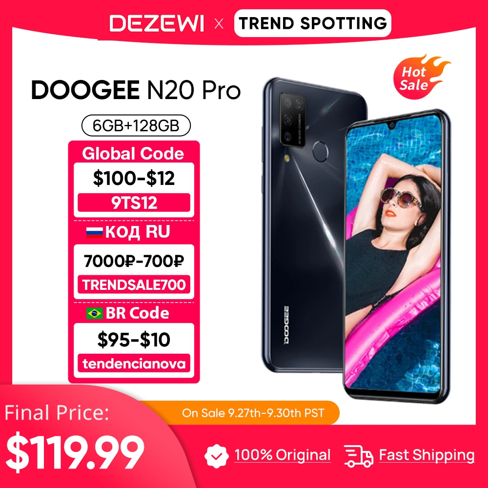 DOOGEE N20 برو كاميرا رباعية الهواتف المحمولة هيليو P60 ثماني النواة 6GB RAM 128GB ROM الإصدار العالمي 6.3