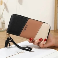 womens wallet long patchwork three color hit color female zipper tassel letter coin purses new card holder clutch bag for phone