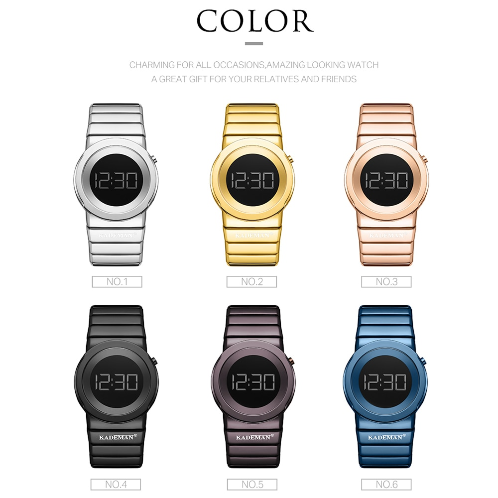 KADEMAN Woman Watches Top Brand Casual LCD Digital Watch New Fashion Women Wristwatch Full Steel Bracelet 3ATM Relogio Feminino enlarge