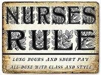 vintage retro metal tin sign nurse rule funny outdoor home bar kitchen club wall decor sign