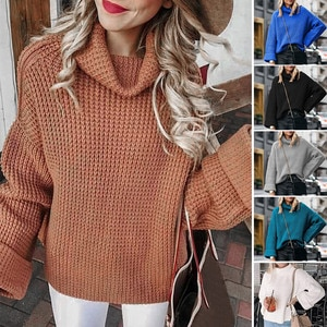 Женский вязаный пуловер, свитер с высоким воротником, повседневный однотонный джемпер, пуловеры, Свитера