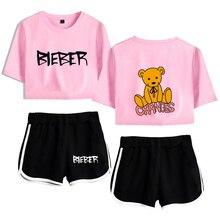 Justin Bieber Sets Women Suits Cool Printed Lady Sets 2020 New Harajuku Fashion Casual Short Sleeve+shorts Harajuku Summer Set