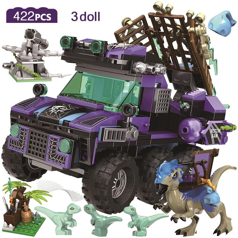 422 Uds. Barco Dragón de serie de dinosaurios Jurassic, bloques de construcción compatibles con Jurassic World, juguetes Raptor brutales para niños