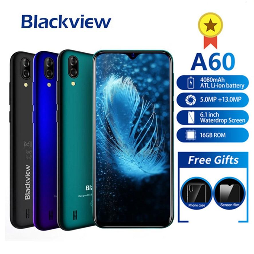 """Blackview a60 smartphone 4080 mah android 8.1 13mp câmera dupla celular mt6580a quad core 6.1 """"waterdrop tela telefone móvel um 60"""