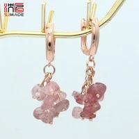 sjmade handmade irregular cluster natural amethysts garnet dangle earrings for women 585 rose gold korean fashion jewelry gift
