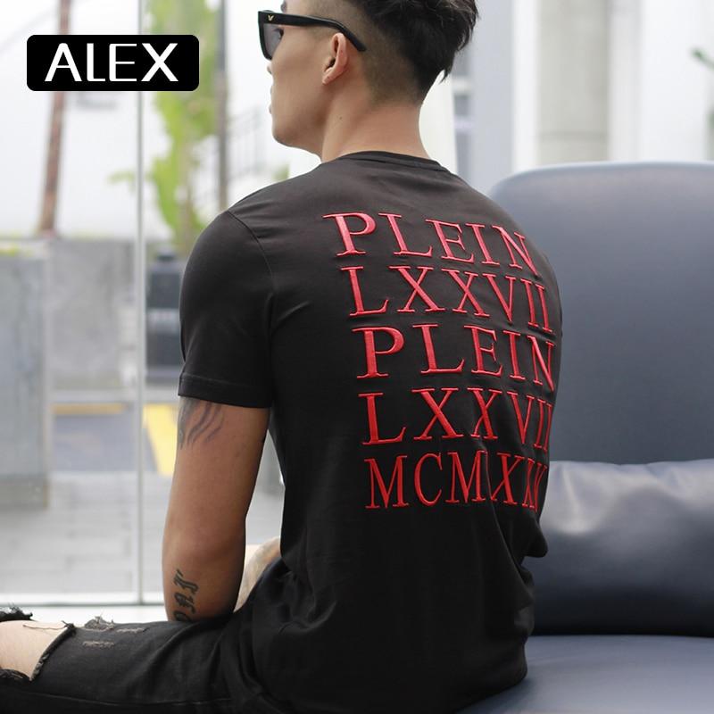 Alex Plein  t shirt men summer casual cotton embroidery black streetwear cotton tshirt men cotton funny men clothing 2020fashion