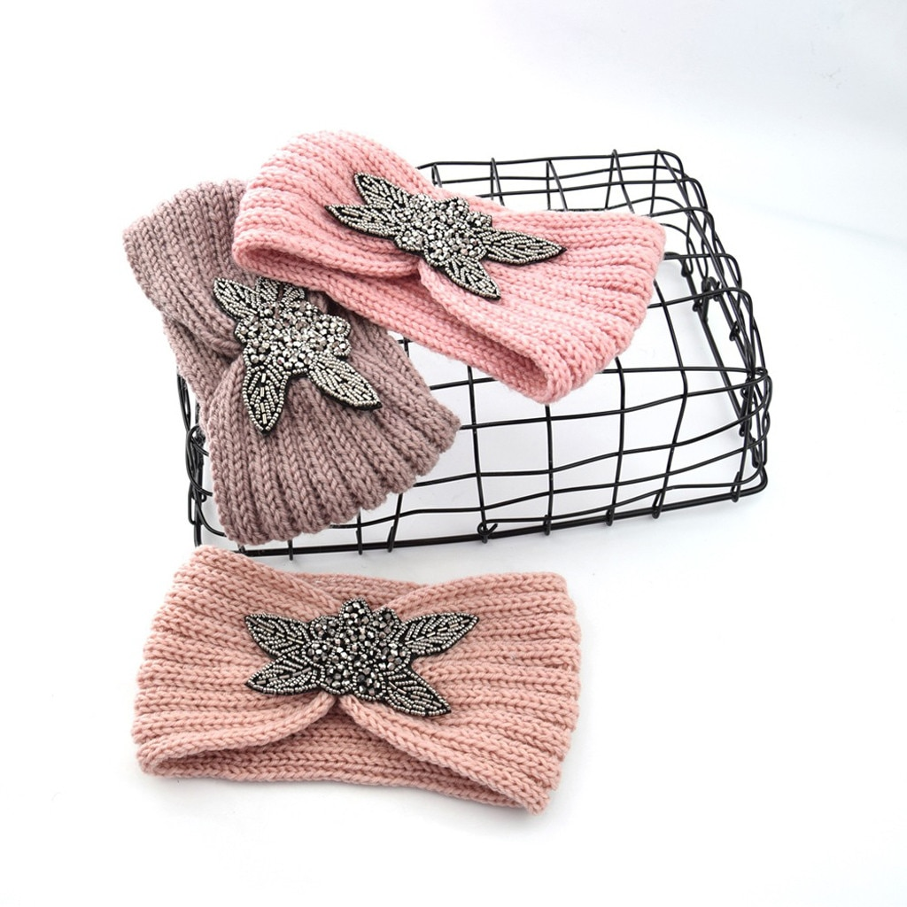 Зимняя теплая вязаная повязка на голову с ушками, тюрбан для женщин, вязаная крючком широкая эластичная повязка для головы, аксессуары для волос для девочек