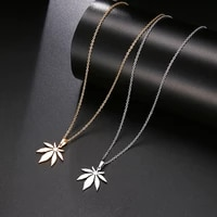 new fashion maple leaf shape pendant necklace womens necklace fashion metal sliding pendant accessories party jewelry