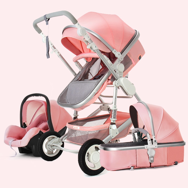 High Landscape Baby Stroller 3 in 1 With Car seat Baby Stroller and Car Seat Stroller Set Infant Newborn Baby Pushchair Trolley