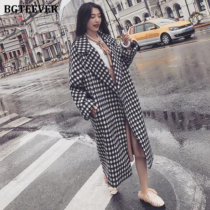 BGTEEVER, abrigos holgados de lana Houndstooth a la moda para mujer, abrigos de invierno 2019, Chaqueta de punto con bolsillos y manga larga con solapa, abrigos para mujer
