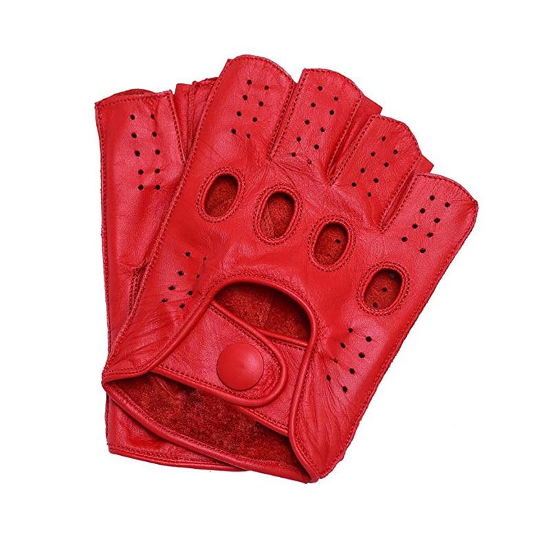 قفازات جلدية نصف إصبع للرجال ، قفازات لياقة بدنية بدون أصابع ، جلد الماعز ، قيادة ، شحن مجاني ، مجموعة جديدة