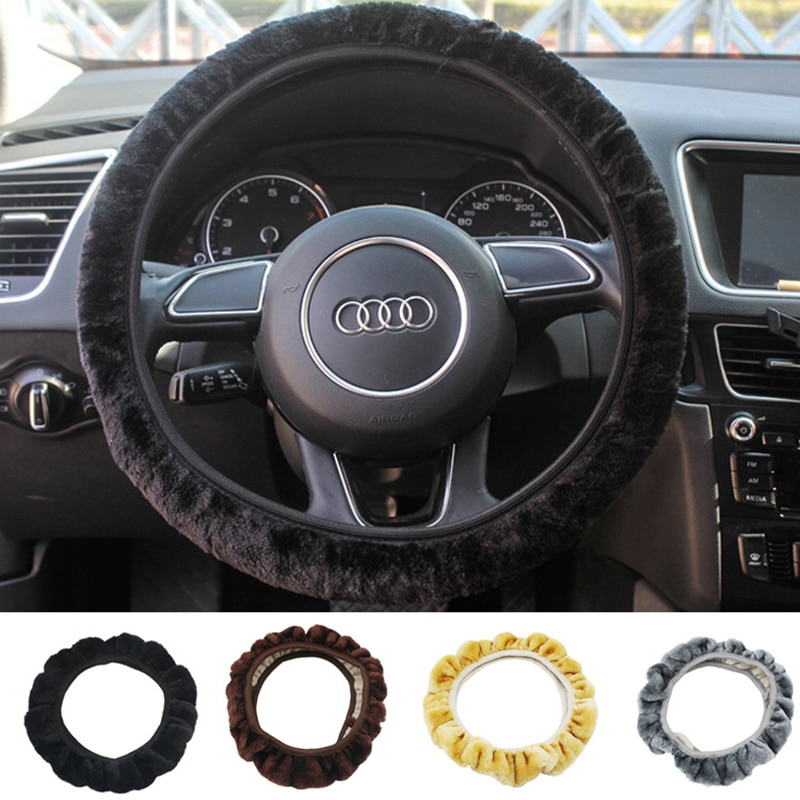 15inch Universal Steering-wheel Plush 38cm Car Steering Wheel Covers Winter Faux Cover Set Car Interior Accessories