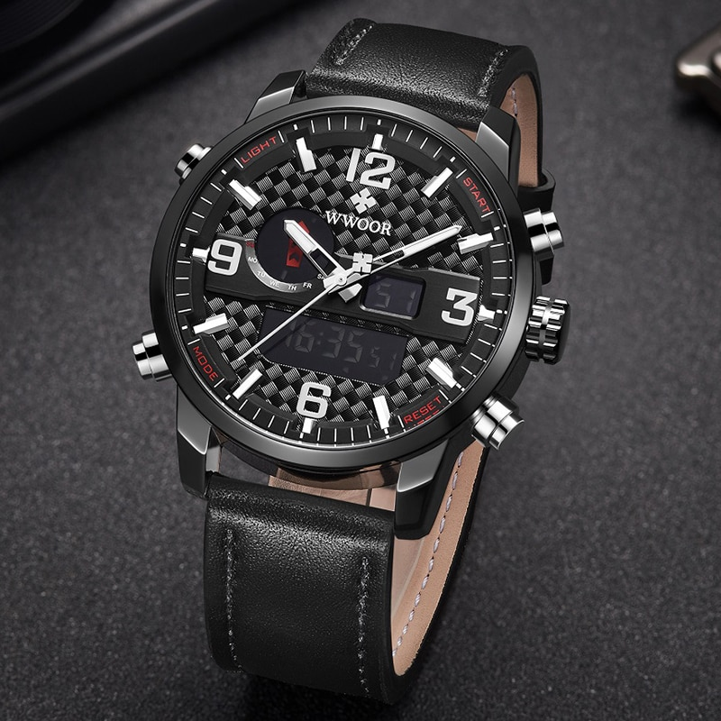WWOOR Sports Multifunction Watches Mens Waterproof Analog Digital Clock Man Military Chronograph Leather Watches Clearance Price