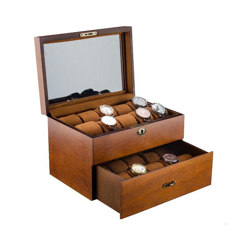 Luxury Double Layer Watch Box Organizer 20 Slots Retro Watch Box Case Wood Jewelry Bracelets Mechanical Watch Storage Box Gift