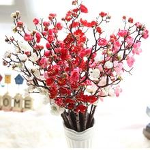 Artificial Silk Flower Plum False Twig Blossoms Home Garden Party Wedding Birthday Fake Decoration