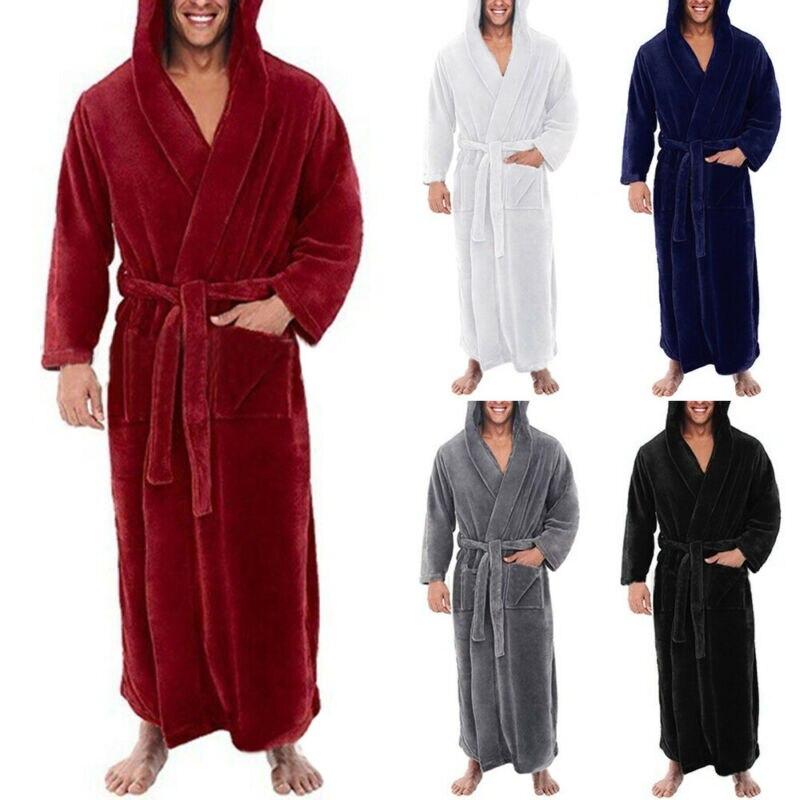 Men\'s Bandage Nightwear Long Sleeve Hooded Pyjamas Warm Soft One Piece Pajama