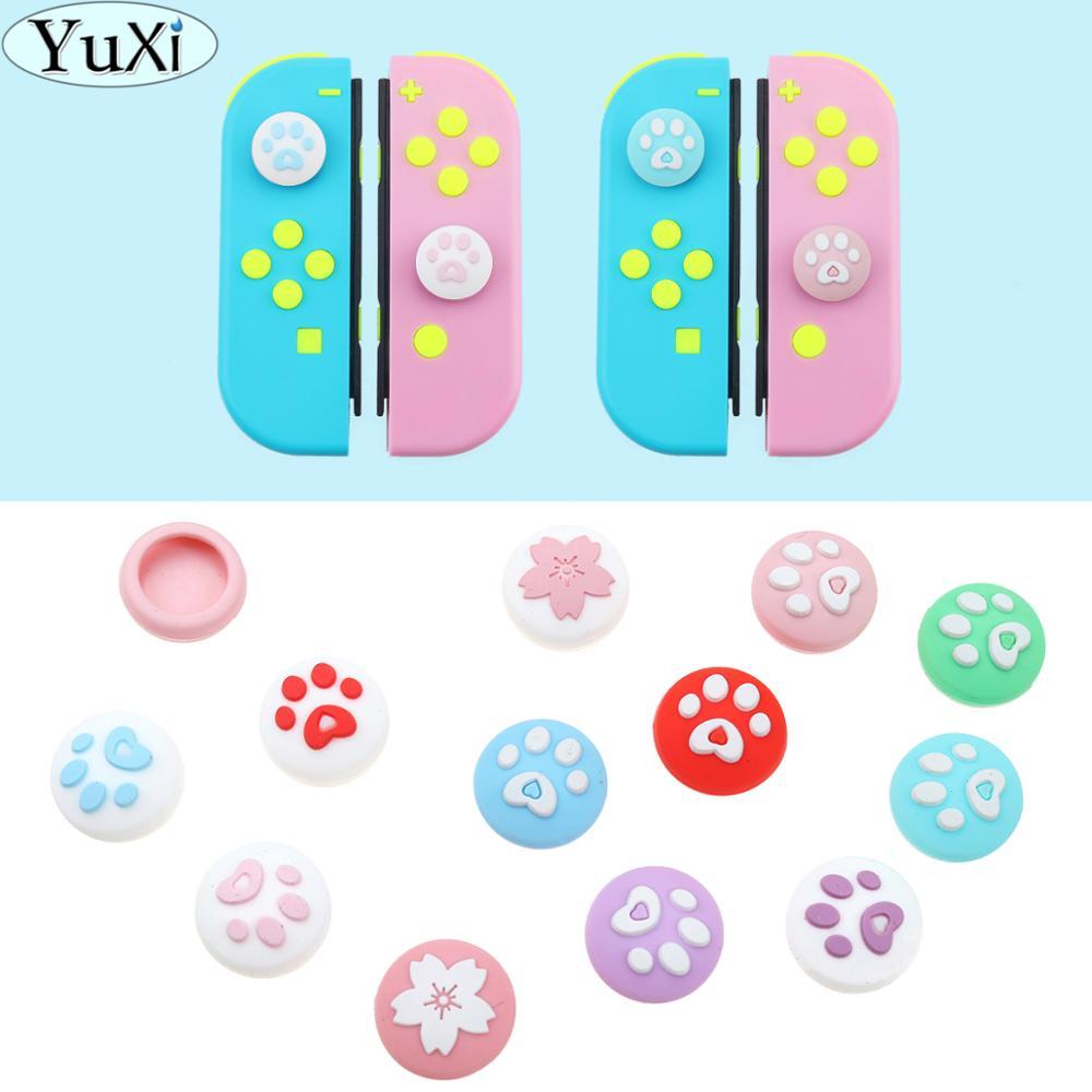 Yuxi 4 pces animais que cruzam tampões do aperto do polegar joystick boné para o interruptor de nintend & lite capa de silicone macia para o controlador do joy-con