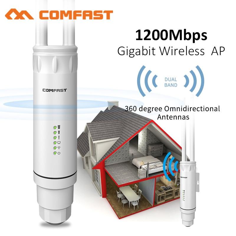 Уличный Беспроводной Wi-Fi ретранслятор Comfast высокой мощности AC1200, маршрутизатор AP/Wifi 1200 Мбит/с, двойной Dand 2,4G + 5 ГГц, расширитель диапазона PoE AP