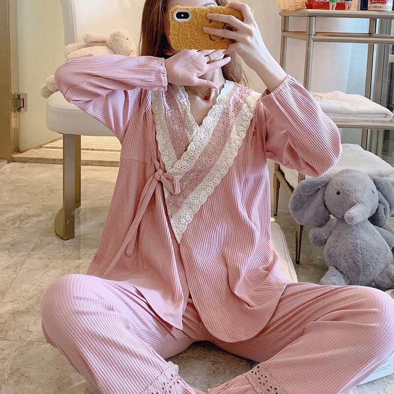 Women Nursing Pyjama Pregnancy Pajamas Set Full Sleeved T-shirt+Trousers Maternity and Nursing Set Cotton Maternity Sleepwear