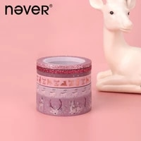never christmas series foil washi tape set cute animal deer love pineapple planner masking tape notebook stationery decoration