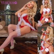 YUECHAO Weihnachten Rot Babydoll Kleid Frauen Sexy Santa Claus Nachtwäsche Unterwäsche Dessous Sets Plus Größe 3XL Weihnachten Kleidung