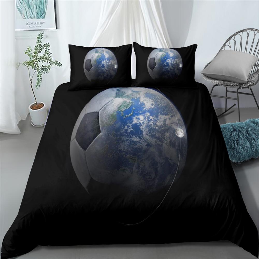 Комплекты постельного белья для мальчиков, королевский комплект для кровати, с пододеяльником и наволочками, с 3D рисунком футбольной спорт...