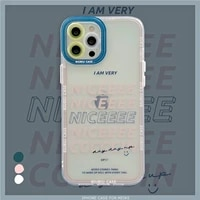 ins simple art retro letters transparent korean phone case for iphone 12 11 pro max x xs max xr 7 8 puls se 2020 soft tpu cover