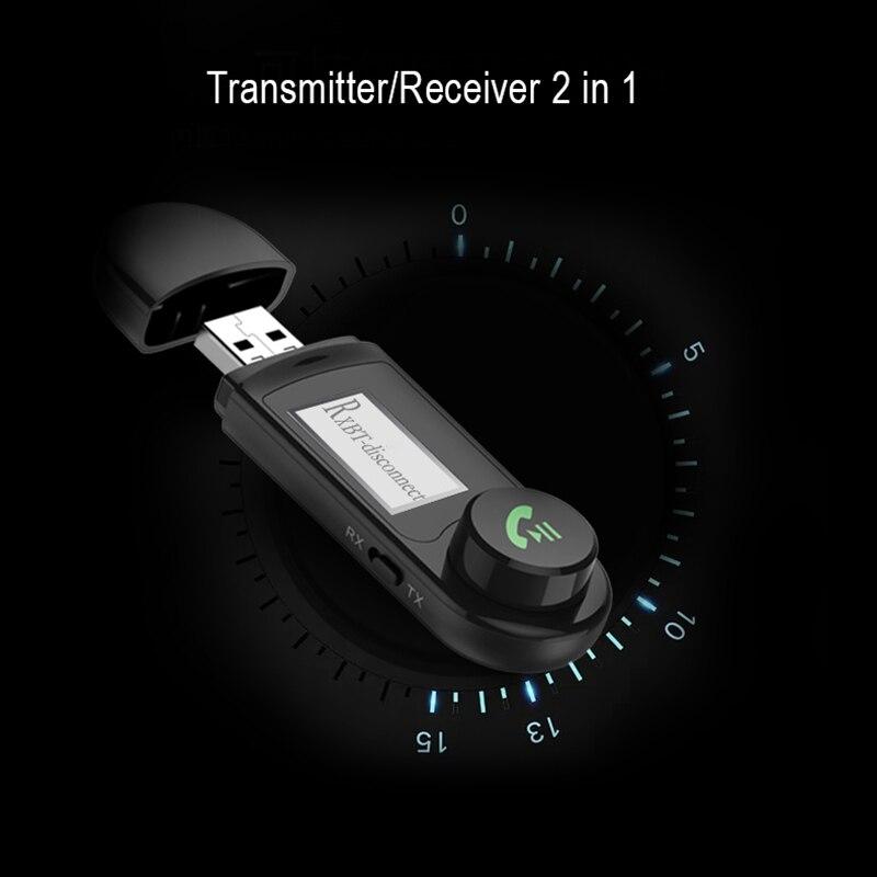 5,0 compatible con Bluetooth Adaptador inalámbrico LCD BT USB receptor de música...