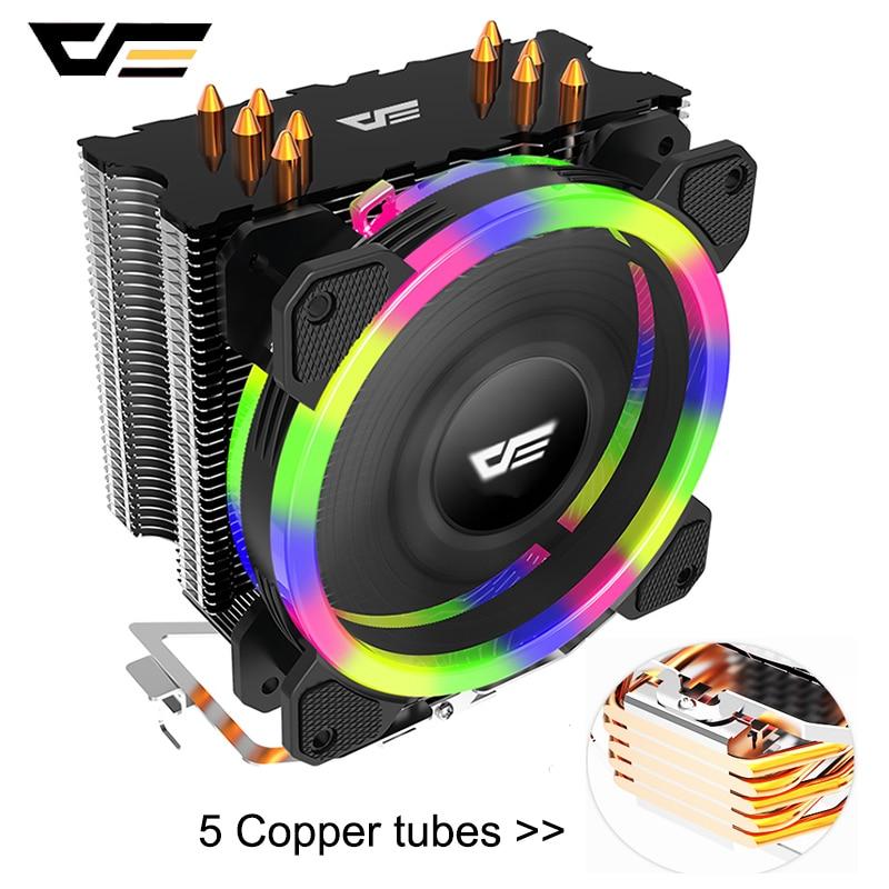 DarkFlash 5 Heatpipes CPU ventilador de enfriamiento PWM LED RGB ventilador 120mm 4Pin TDP 280W disipador térmico para Intel 775/115X/AM3/AM4 CPU PC refrigerador