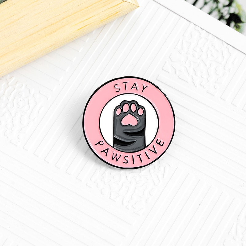 Pink Cat Paw creative brooch funny pin Animal jewelry Stay pawsitive badge enamel backpack lapel pin hat jewelry gift for friend  - buy with discount